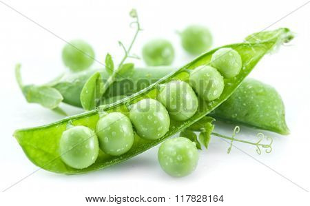 Open pea pod on a white background.