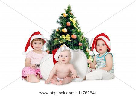 Three Chidren In Christmas Hats Near Fur-tree Densely Covered By Christmas Ornaments Collage