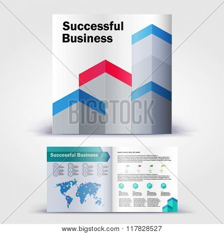 Minimal geometric brochure. Color application booklet template design for corporate identity with statistics and infographics. Cover layout and infographics. Business stationery.