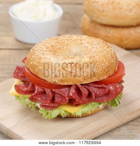 Healthy Eating Bagel Sandwich For Breakfast With Salami Ham