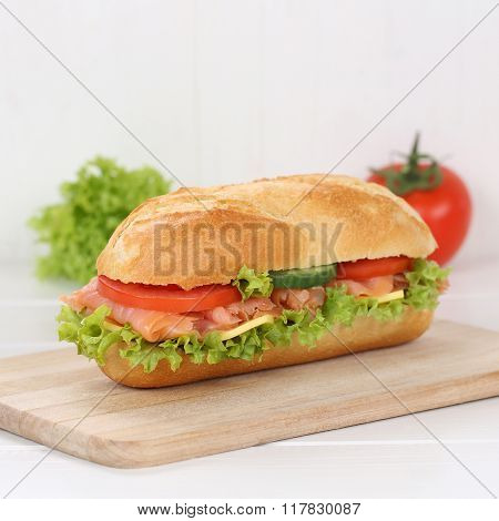 Healthy Eating Sub Deli Sandwich Baguette With Salmon Fish For Breakfast