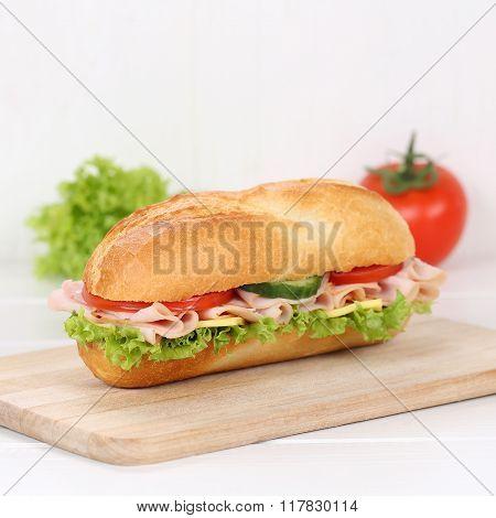 Healthy Eating Sub Deli Sandwich Baguette With Ham For Breakfast