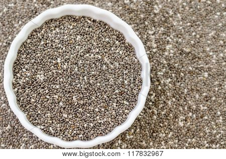 Chia Seeds In Bowl.
