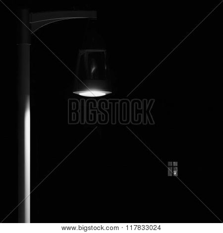 Bright Lit Outdoor Lantern Lamp Pole Post, Lonely Concept Solitude Metaphor, Illuminated Window