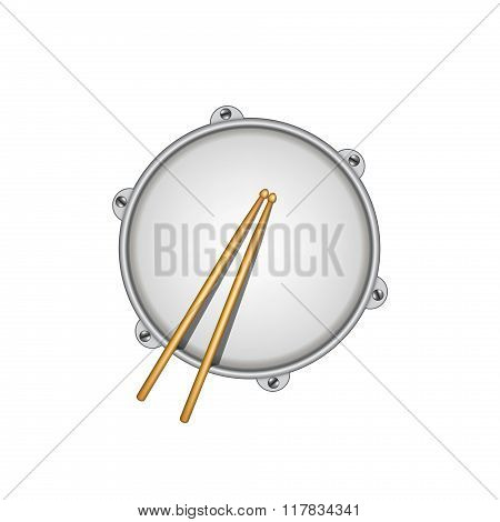 Drum and pair of wooden drumsticks