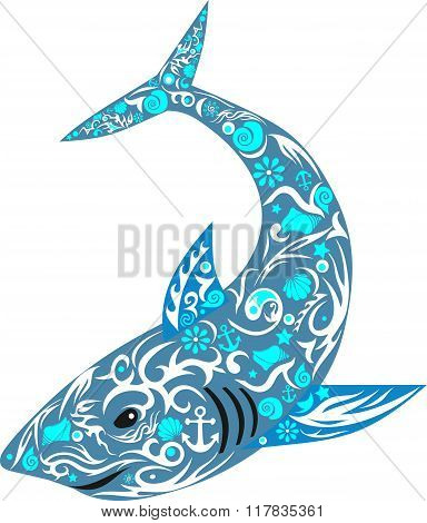 shark becoming blue with a pattern
