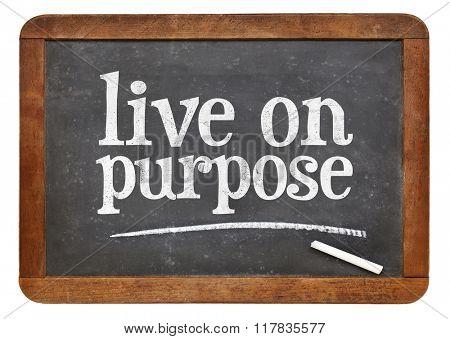 Live on purpose blackboard sign - white chalk text on a vintage slate blackboard