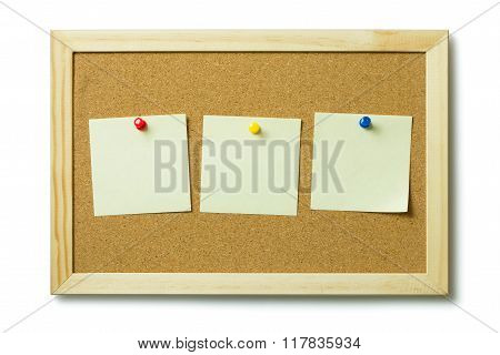 Blank Post It Notes On A Cork Notice Board