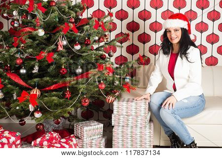 Beauty Woman With Natural Chrismas Tree