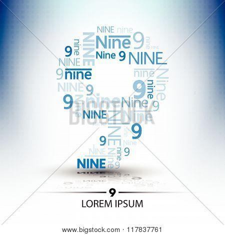 Character Sort For Number Nine Logo Vector Future Technology Design