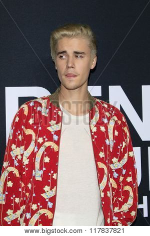 LOS ANGELES - FEB 10:  Justin Bieber at the SAINT LAURENT At The Palladium at the Hollywood Palladium on February 10, 2016 in Los Angeles, CA