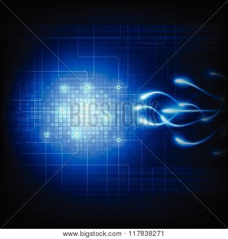 Future Technology Illustration On Blue Background