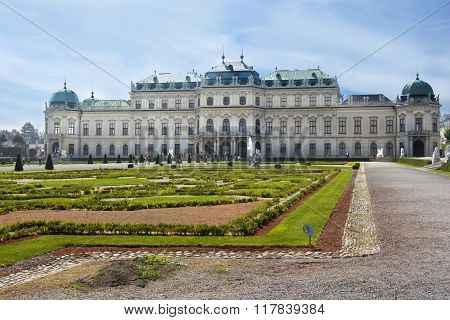 Baroque Park And The Belvedere Castle In Vienna