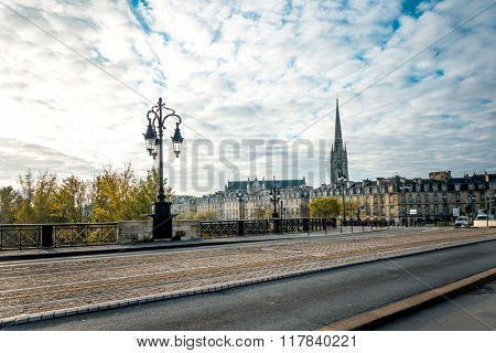 Street view of old town in bordeaux city, France Europe