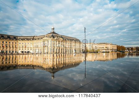 Street view of Place De La Bourse in Bordeaux city, France Europe