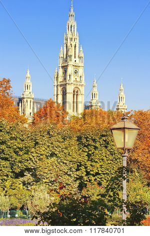 Clock Tower Of The Vienna Rathaus (town Hall), Austria