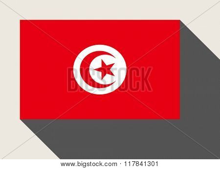 Tunisia flag in flat web design style.