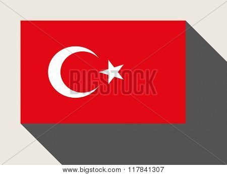 Turkey, Turkish, flag in flat web design style.