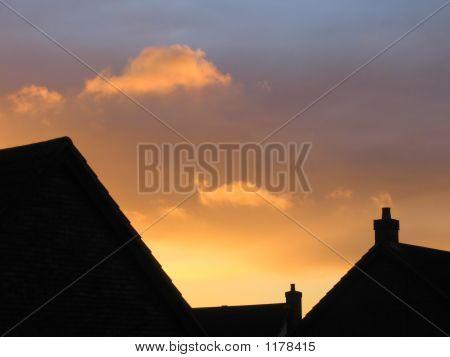 Suburbia At Sunset