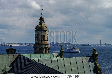 View From Roof Of Renaissance Castle Kronborg To Helsingborg City And Strait Between  Denmark And Sw