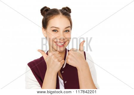 people and teens concept - happy smiling pretty teenage girl