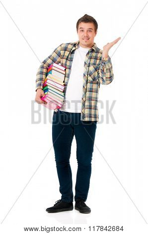 Young student carrying books, isolated on white background