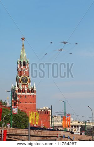Il-76, Tu-160 And Mig-29 Airplanes Fly Over Red Square, Spasskaya Tower On Parade