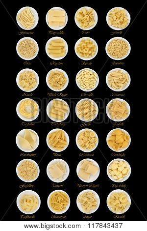 Dried pasta food sampler in round porcelain bowls over black background with descriptive titles.