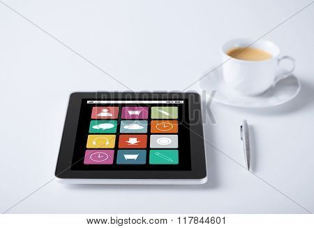 business, media and technology concept - tablet pc computer with application icons and cup of coffee