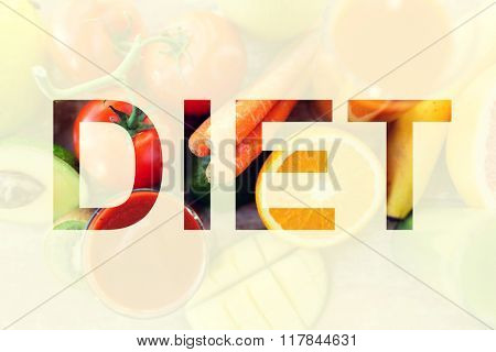 healthy eating and vegetarian diet concept - juice, fruits and vegetables on table