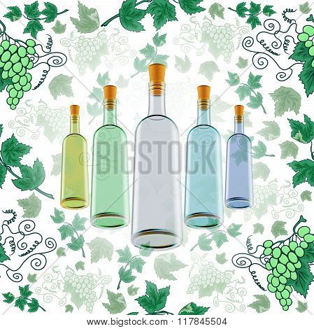 Wine Bottles With Grape Background