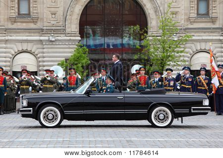 Minister Of Defense Anatoliy Serdyukov Stands In Car Near Orchestra