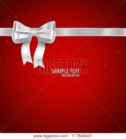 Shiny ribbon on red background. Vector illustration.