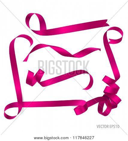 Shiny pink ribbon on white background. Vector illustration.
