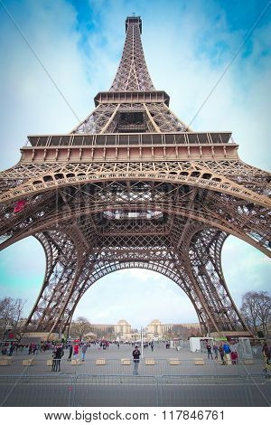 Paris, France, February 8, 2016: Eiffel tower, Paris, France - one of the simbols of this city
