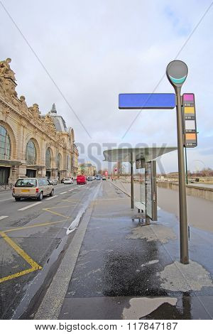 Bus station in Paris, France