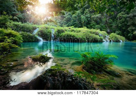 Beautiful Cascades National Park in Guatemala Semuc Champey at sunset