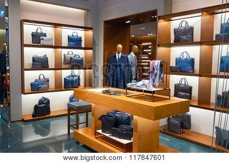 HONG KONG - JANUARY 27, 2016: inside of Ermenegildo Zegna store. Ermenegildo Zegna is an Italian luxury fashion house that makes men's clothing and accessories.