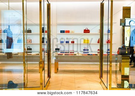HONG KONG - JANUARY 27, 2016: interior of Yves Saint Laurent store at Elements Shopping Mall. Elements is a large shopping mall located on 1 Austin Road West, Tsim Sha Tsui, Kowloon, Hong Kong