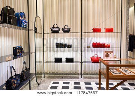 HONG KONG - JANUARY 27, 2016: interior of Valentino store at Elements Shopping Mall. Elements is a large shopping mall located on 1 Austin Road West, Tsim Sha Tsui, Kowloon, Hong Kong
