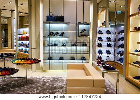 HONG KONG - JANUARY 27, 2016: inside of TOD'S store at Elements Shopping Mall. Elements is a large shopping mall located on 1 Austin Road West, Tsim Sha Tsui, Kowloon, Hong Kong