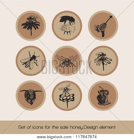 Set of icons for the sale honey 3