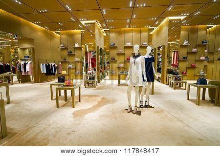 HONG KONG - JANUARY 27, 2016: interior of Miu Miu store at Elements Shopping Mall. Miu Miu is an Italian high fashion women's clothing and accessory brand and a subsidiary of Prada.