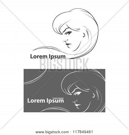 woman face with hairstyle design, hairdressing beauty salon, simple illustration