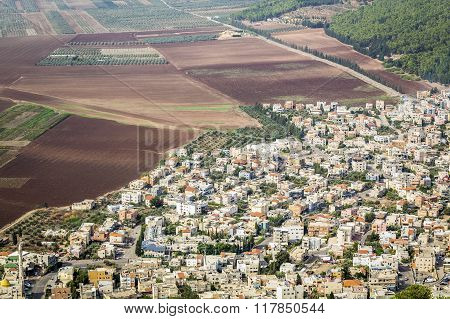 Densely Populated City And Fertile Fields, Israel