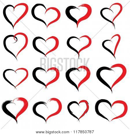 Vector concept or conceptual painted red black heart shape or love symbol set or collection, made by a happy child at school isolated on background