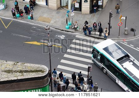 Paris, France - May 15, 2015: People On The Street Near Madeleine Church In Paris