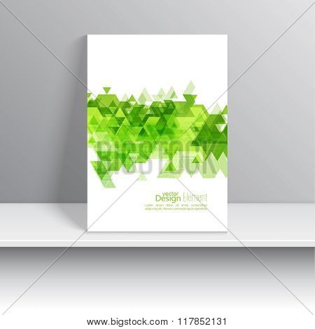 Magazine Cover with leaves, triangles.