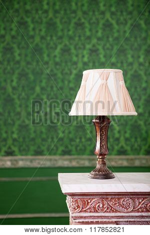 Vintage Lamp On Chimney On Green Retro Pattern Background