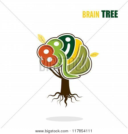 Abstract Vector Brain Tree Logo Template.think Green Concept.business ,industrial And Eduction Conce
